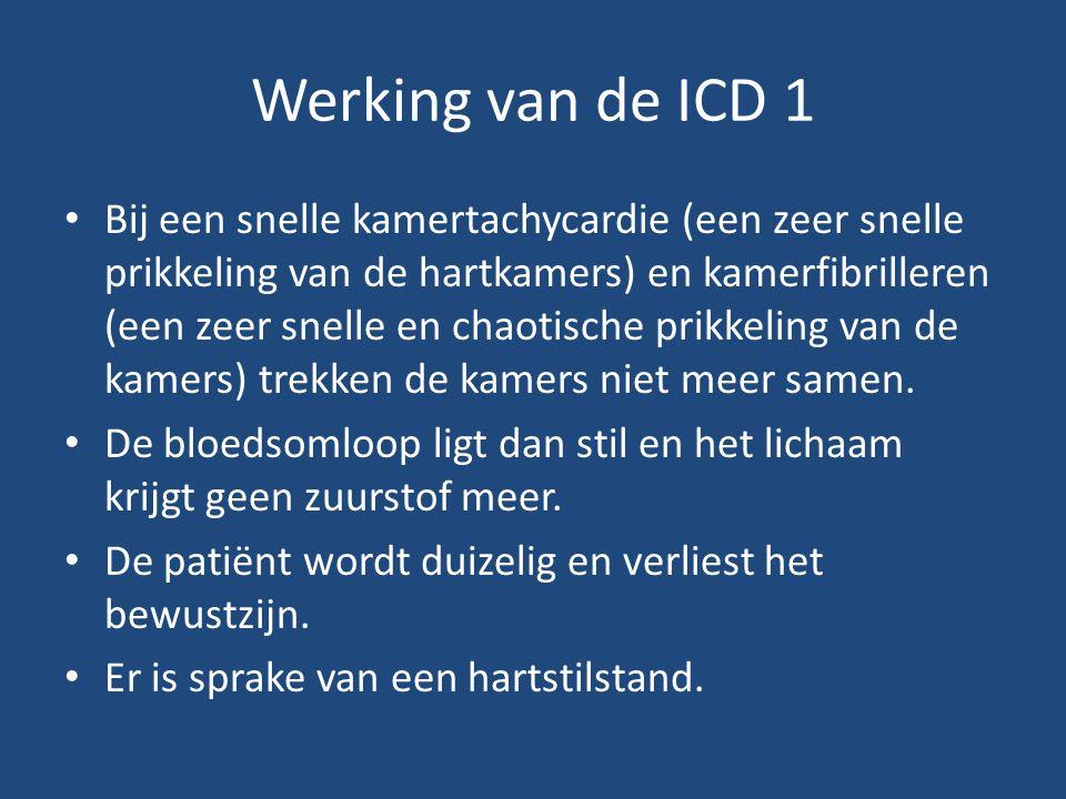 Werking van de ICD 1 Bij een snelle kamertachycardie (een zeer snelle prikkeling van de hartkamers) en kamerfibrilleren (een zeer snelle en chaotische prikkeling van de kamers) trekken de kamers niet meer samen.