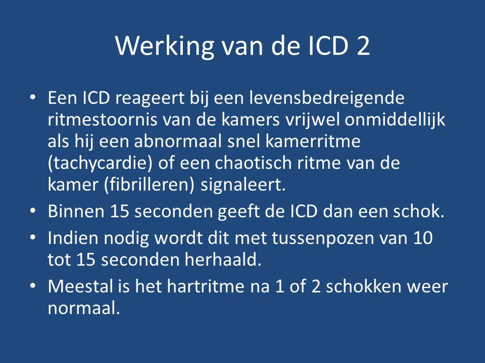 Werking van de ICD 2 Een ICD reageert bij een levensbedreigende ritmestoornis van de kamers vrijwel onmiddellijk als hij een abnormaal snel kamerritme (tachycardie) of een chaotisch ritme van de kamer (fibrilleren) signaleert.