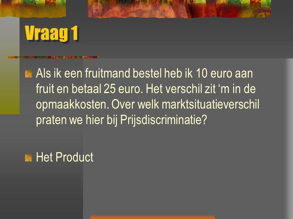 Vraag 1 Als ik een fruitmand bestel heb ik 10 euro aan fruit en betaal 25 euro.