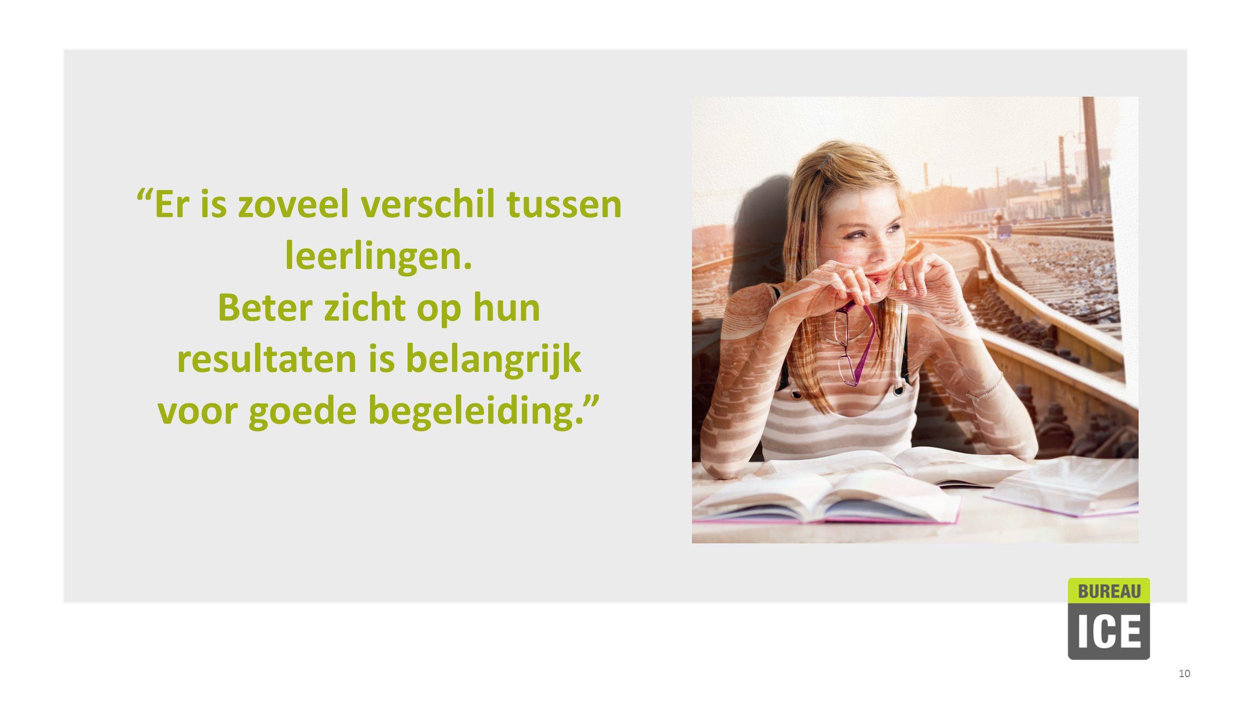"""10 """"Er is zoveel verschil tussen leerlingen. Beter zicht op hun resultaten is belangrijk voor goede begeleiding."""""""