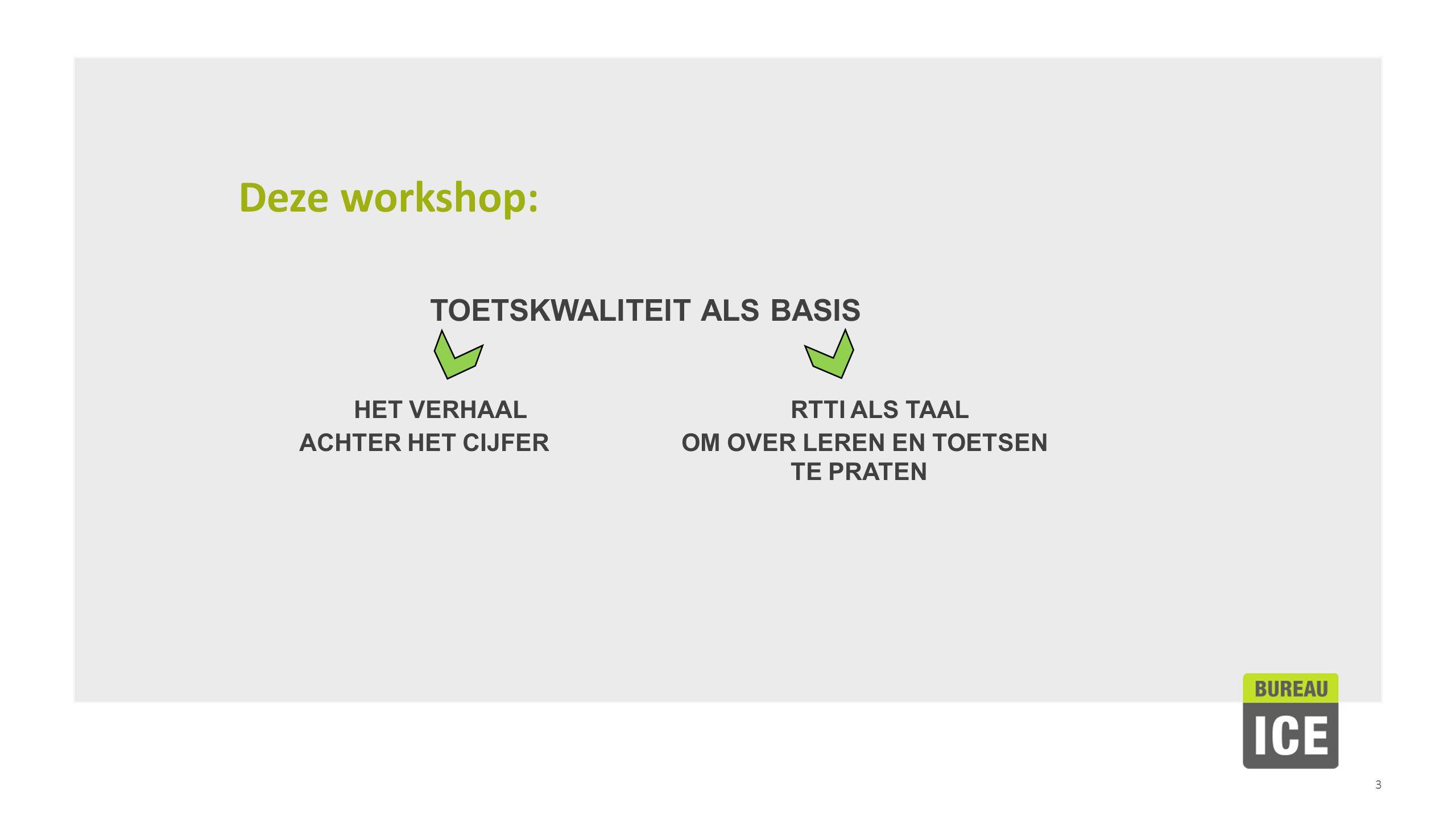 3 Deze workshop: TOETSKWALITEIT ALS BASIS HET VERHAAL RTTI ALS TAAL ACHTER HET CIJFEROM OVER LEREN EN TOETSEN TE PRATEN