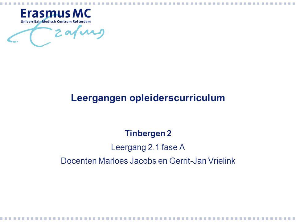 Leergangen opleiderscurriculum Tinbergen 2 Leergang 2.1 fase A Docenten Marloes Jacobs en Gerrit-Jan Vrielink