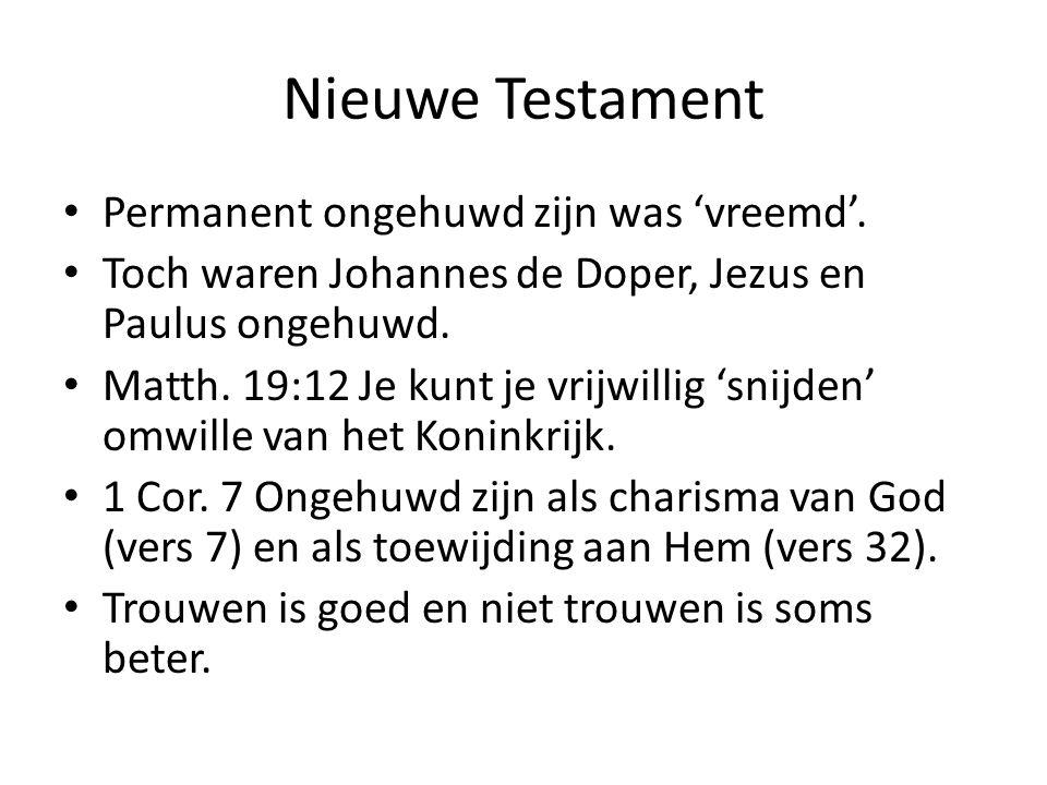 Nieuwe Testament Permanent ongehuwd zijn was 'vreemd'.