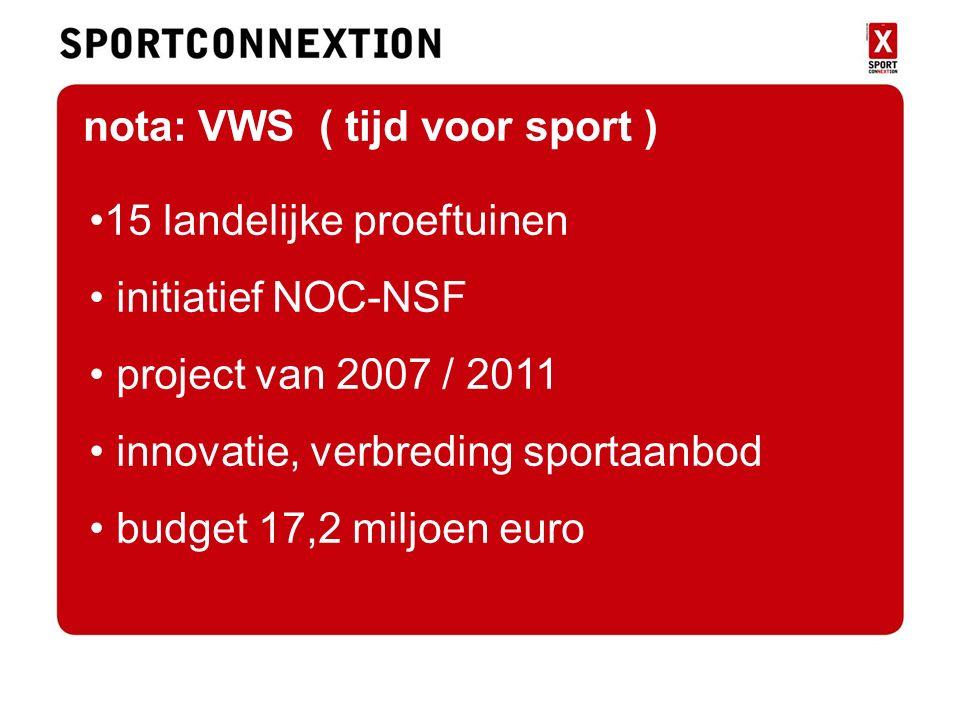Nota vws 15 landelijke proeftuinen initiatief NOC-NSF project van 2007 / 2011 innovatie, verbreding sportaanbod budget 17,2 miljoen euro nota: VWS ( tijd voor sport )