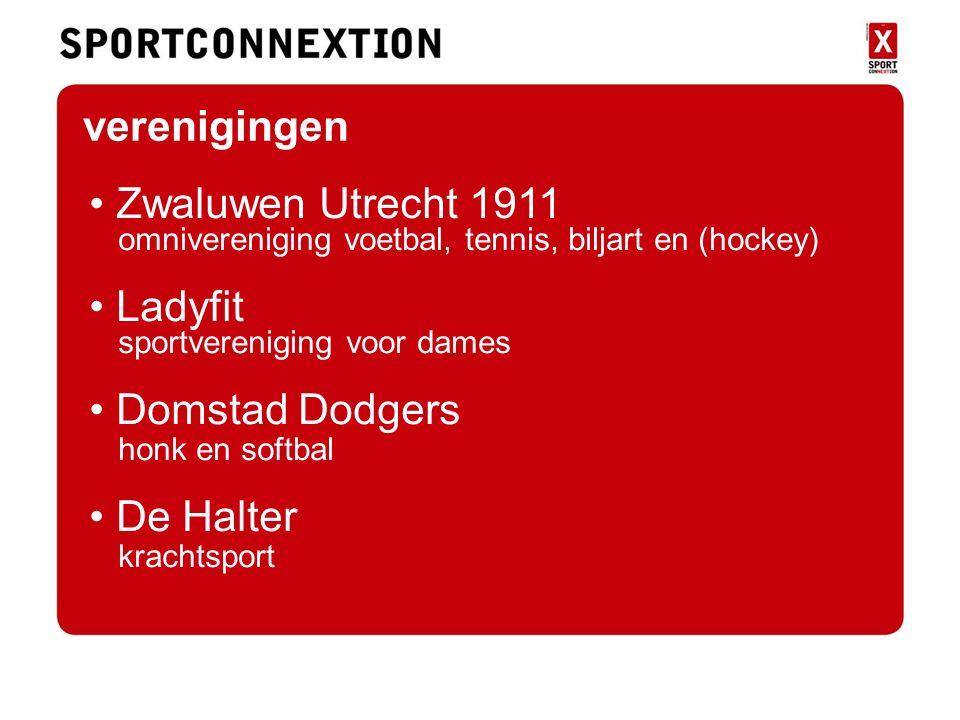 verenigingen Zwaluwen Utrecht 1911 omnivereniging voetbal, tennis, biljart en (hockey) Ladyfit sportvereniging voor dames Domstad Dodgers honk en softbal De Halter krachtsport