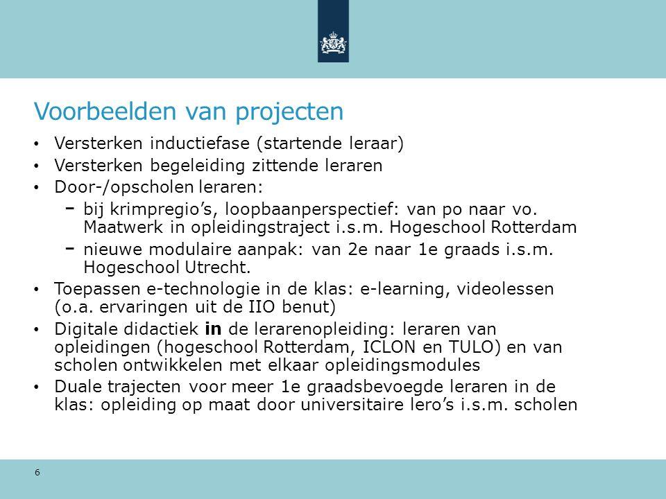 Voorbeelden van projecten Versterken inductiefase (startende leraar) Versterken begeleiding zittende leraren Door-/opscholen leraren: bij krimpregio's, loopbaanperspectief: van po naar vo.