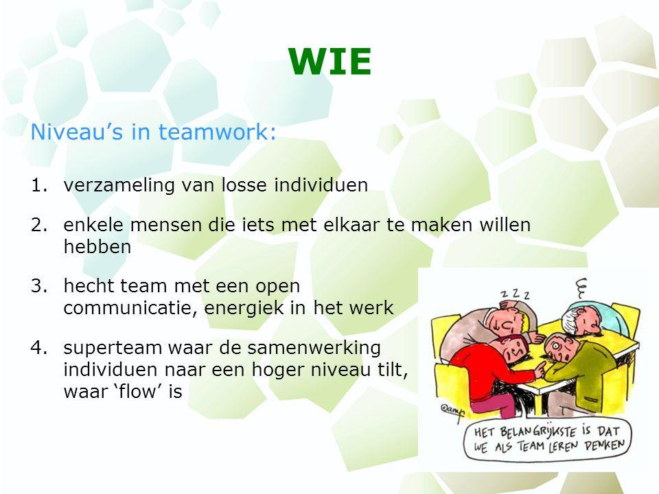 WIE Niveau's in teamwork: 1.verzameling van losse individuen 2.enkele mensen die iets met elkaar te maken willen hebben 3.hecht team met een open comm