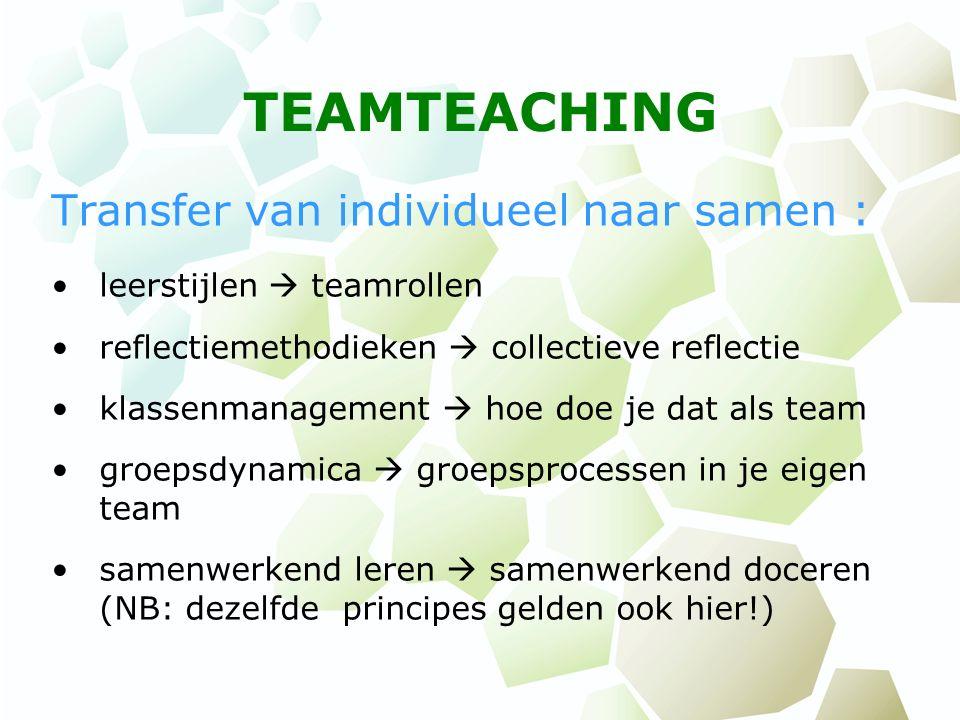 TEAMTEACHING Transfer van individueel naar samen : leerstijlen  teamrollen reflectiemethodieken  collectieve reflectie klassenmanagement  hoe doe j