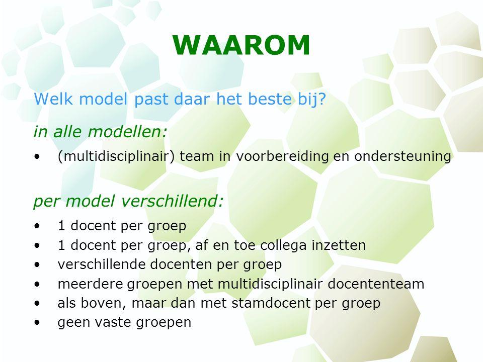 WAAROM Welk model past daar het beste bij? in alle modellen: (multidisciplinair) team in voorbereiding en ondersteuning per model verschillend: 1 doce