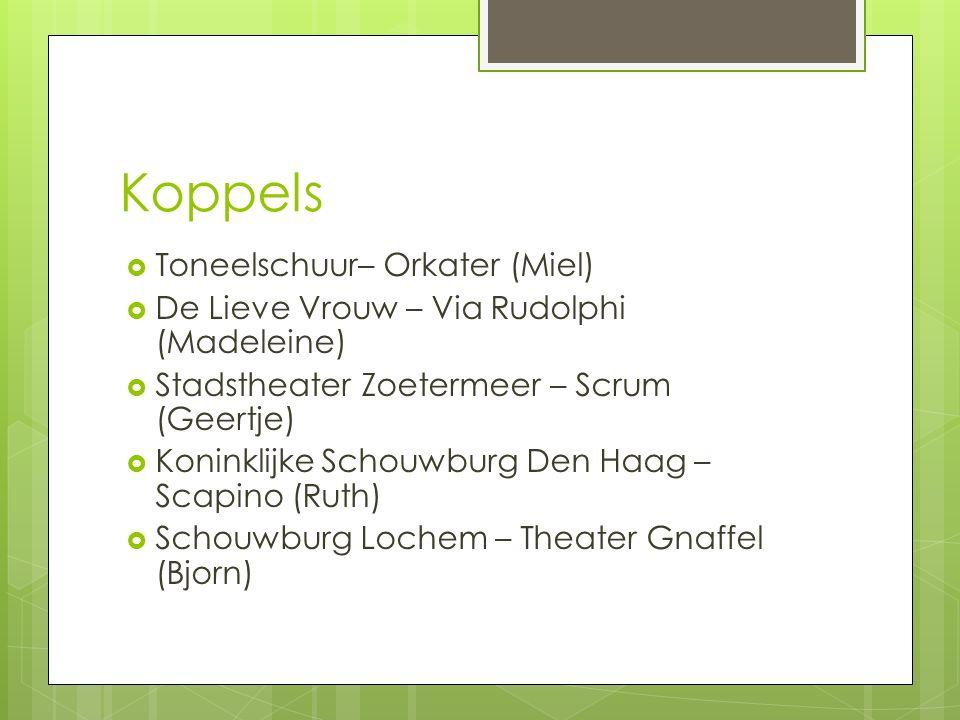 Koppels  Toneelschuur– Orkater (Miel)  De Lieve Vrouw – Via Rudolphi (Madeleine)  Stadstheater Zoetermeer – Scrum (Geertje)  Koninklijke Schouwburg Den Haag – Scapino (Ruth)  Schouwburg Lochem – Theater Gnaffel (Bjorn)