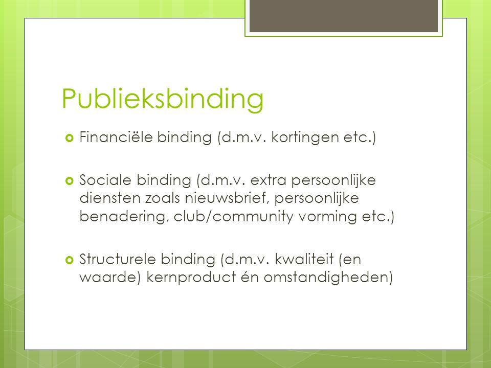 Publieksbinding  Financiële binding (d.m.v. kortingen etc.)  Sociale binding (d.m.v. extra persoonlijke diensten zoals nieuwsbrief, persoonlijke ben
