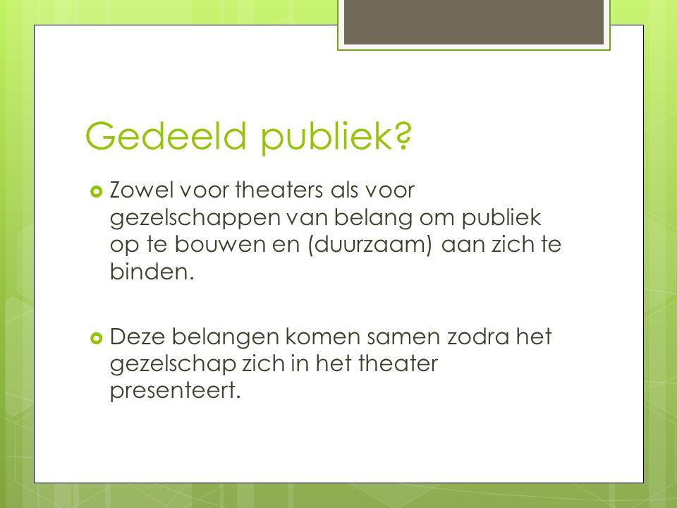 Gedeeld publiek?  Zowel voor theaters als voor gezelschappen van belang om publiek op te bouwen en (duurzaam) aan zich te binden.  Deze belangen kom