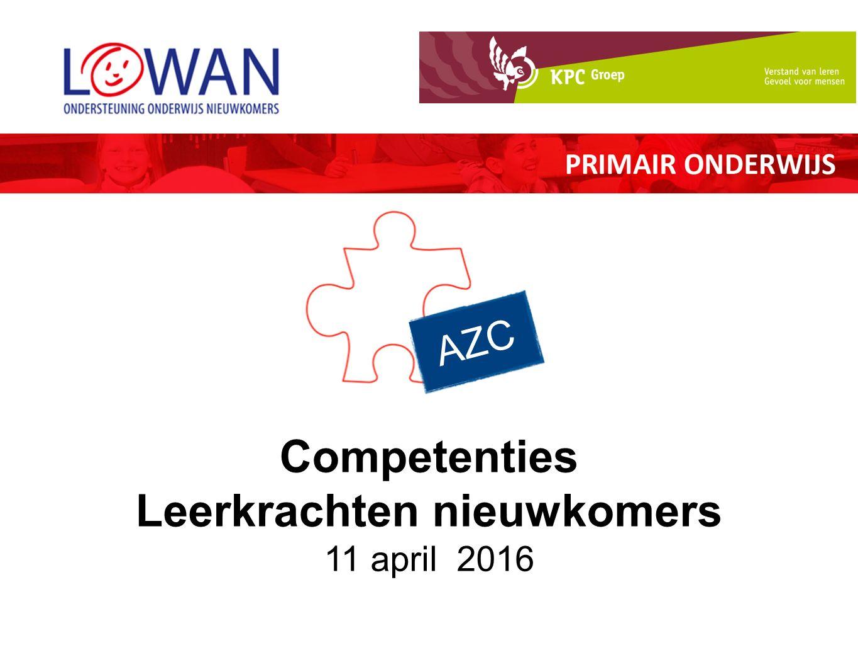 AZC Competenties Leerkrachten nieuwkomers 11 april 2016