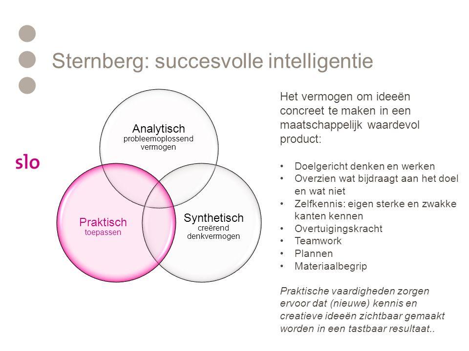 Sternberg: succesvolle intelligentie Analytisch probleemoplossend vermogen Synthetisch creërend denkvermogen Praktisch toepassen Het vermogen om veel informatie tegelijkertijd met elkaar in verband te brengen: Flexibel denken Inventiviteit Associëren en brainstormen Complexe, meerduidige informatie tegelijkertijd overzien Ongewone, originele vragen stellen Problemen in een ander kader plaatsen (out-of-the-box) Inlevingsvermogen Subjectiviteit (bijvoorbeeld esthetisch oordeel) Het creatieve vermogen speelt een grote rol in wetenschap, kunst, probleemoplossend vermogen en samenwerking met anderen.
