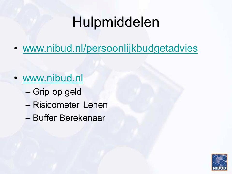 Hulpmiddelen www.nibud.nl/persoonlijkbudgetadvies www.nibud.nl –Grip op geld –Risicometer Lenen –Buffer Berekenaar