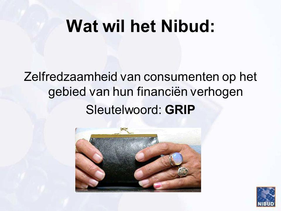 Wat wil het Nibud: Zelfredzaamheid van consumenten op het gebied van hun financiën verhogen Sleutelwoord: GRIP