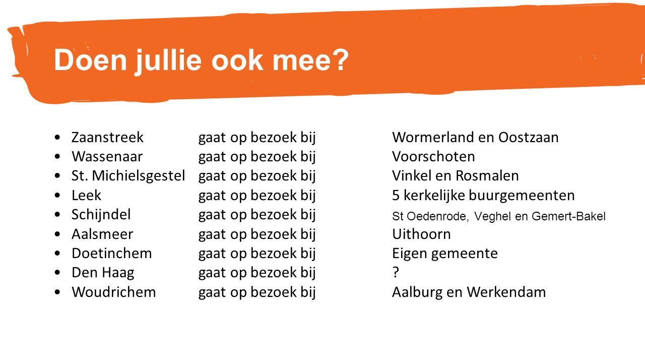 Doen jullie ook mee? Zaanstreek gaat op bezoek bij Wormerland en Oostzaan Wassenaar gaat op bezoek bij Voorschoten St. Michielsgestel gaat op bezoek b