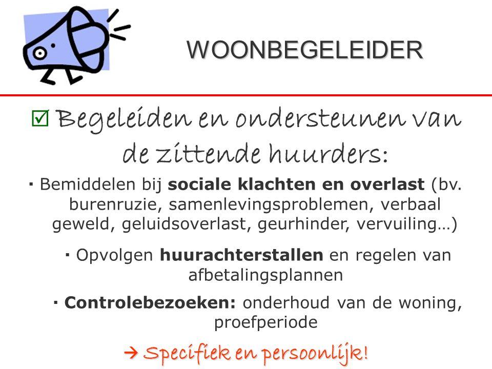 WOONBEGELEIDER  Begeleiden en ondersteunen van de zittende huurders:  Bemiddelen bij sociale klachten en overlast (bv. burenruzie, samenlevingsprobl