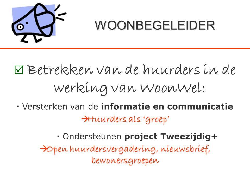 WOONBEGELEIDER  Betrekken van de huurders in de werking van WoonWel:  Versterken van de informatie en communicatie  Huurders als 'groep'  Onderste