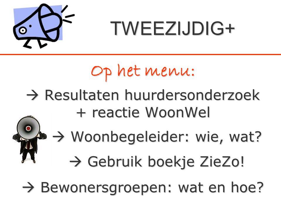 Op het menu:  Resultaten huurdersonderzoek + reactie WoonWel  Woonbegeleider: wie, wat?  Gebruik boekje ZieZo!  Bewonersgroepen: wat en hoe? TWEEZ