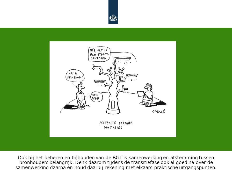 Ook bij het beheren en bijhouden van de BGT is samenwerking en afstemming tussen bronhouders belangrijk. Denk daarom tijdens de transitiefase ook al g