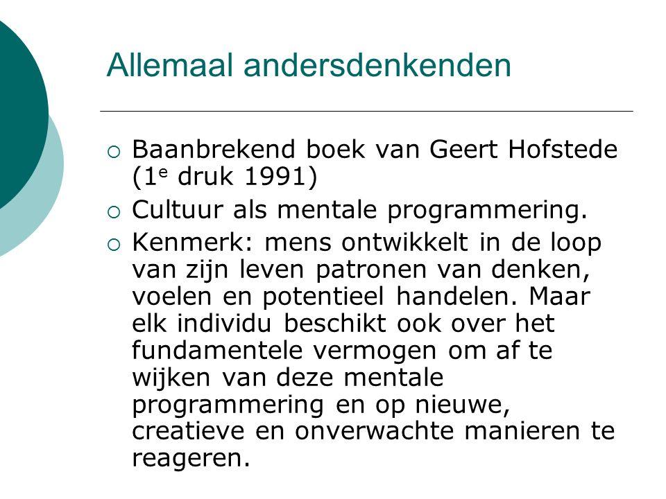 Allemaal andersdenkenden  Baanbrekend boek van Geert Hofstede (1 e druk 1991)  Cultuur als mentale programmering.  Kenmerk: mens ontwikkelt in de l