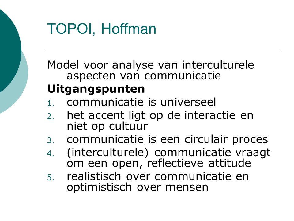 TOPOI, Hoffman Model voor analyse van interculturele aspecten van communicatie Uitgangspunten 1. communicatie is universeel 2. het accent ligt op de i