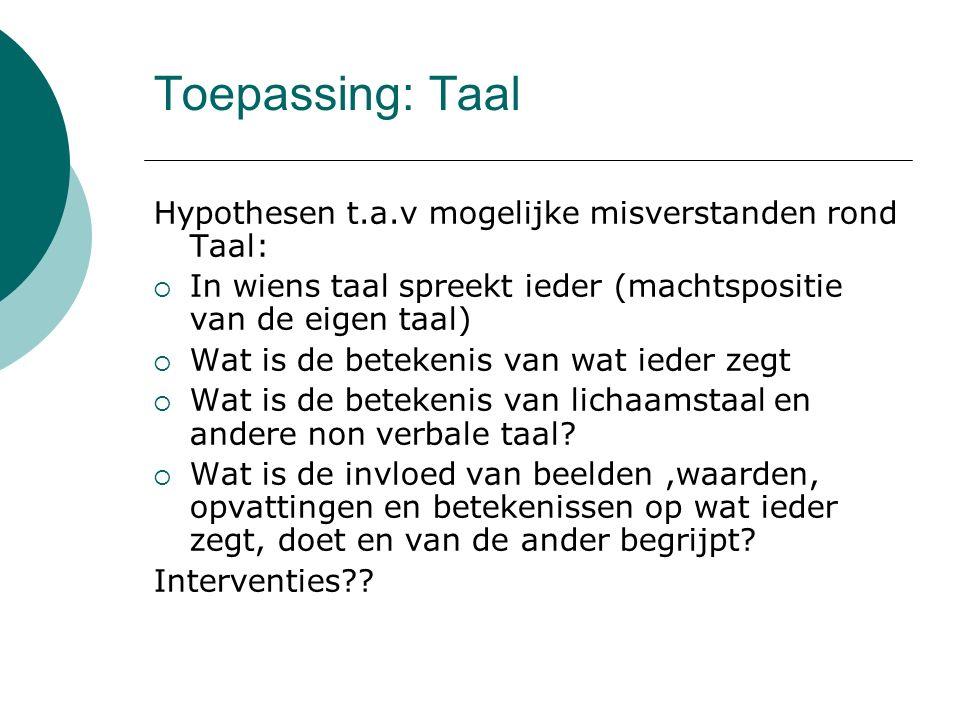 Toepassing: Taal Hypothesen t.a.v mogelijke misverstanden rond Taal:  In wiens taal spreekt ieder (machtspositie van de eigen taal)  Wat is de betek