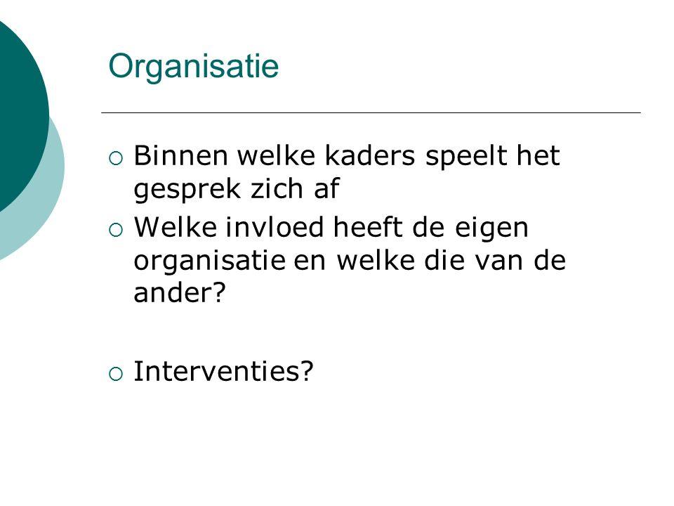Organisatie  Binnen welke kaders speelt het gesprek zich af  Welke invloed heeft de eigen organisatie en welke die van de ander?  Interventies?