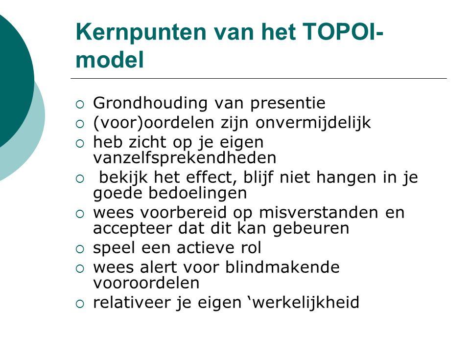 Kernpunten van het TOPOI- model  Grondhouding van presentie  (voor)oordelen zijn onvermijdelijk  heb zicht op je eigen vanzelfsprekendheden  bekij