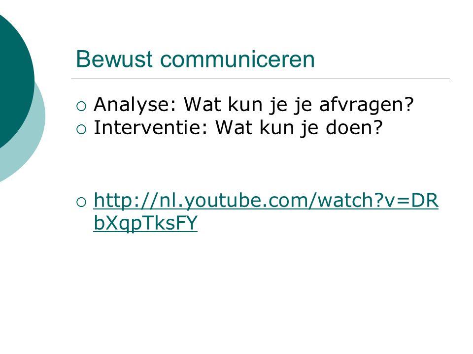 Bewust communiceren  Analyse: Wat kun je je afvragen?  Interventie: Wat kun je doen?  http://nl.youtube.com/watch?v=DR bXqpTksFY http://nl.youtube.
