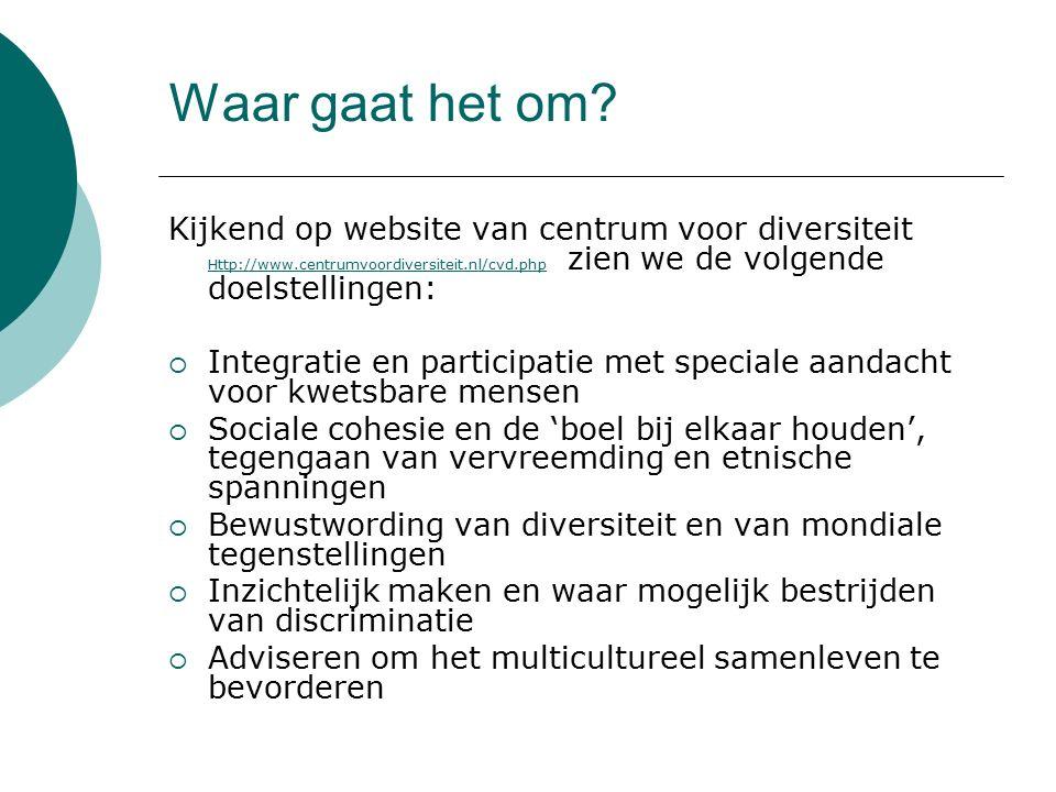Waar gaat het om? Kijkend op website van centrum voor diversiteit Http://www.centrumvoordiversiteit.nl/cvd.php zien we de volgende doelstellingen: Htt