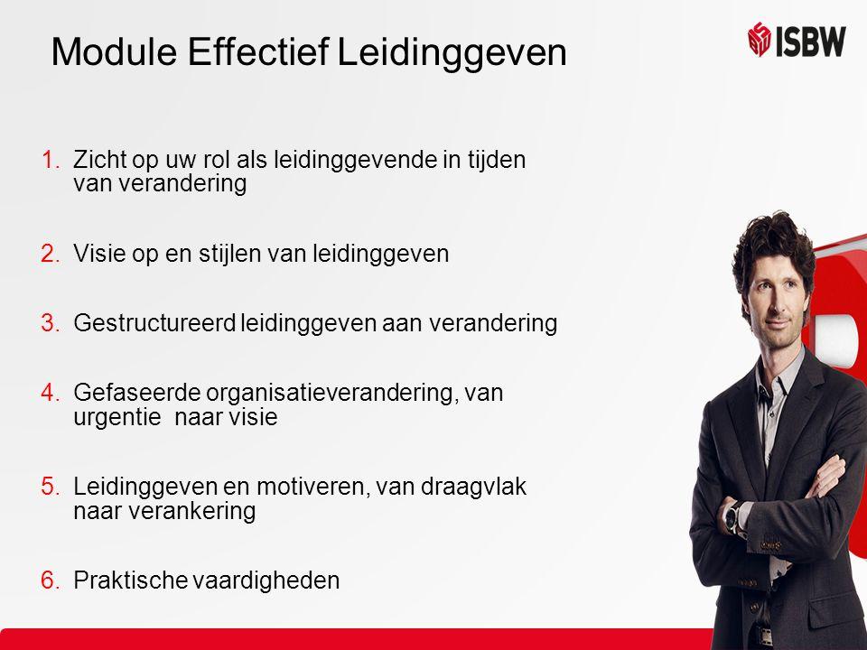 1.Zicht op uw rol als leidinggevende in tijden van verandering 2.Visie op en stijlen van leidinggeven 3.Gestructureerd leidinggeven aan verandering 4.Gefaseerde organisatieverandering, van urgentie naar visie 5.Leidinggeven en motiveren, van draagvlak naar verankering 6.Praktische vaardigheden Module Effectief Leidinggeven