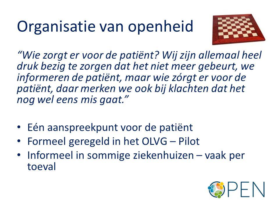 Organisatie van openheid Wie zorgt er voor de patiënt.