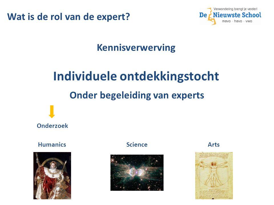 Kennisverwerving Individuele ontdekkingstocht Onderzoek Onder begeleiding van experts Humanics Science Arts Wat is de rol van de expert?