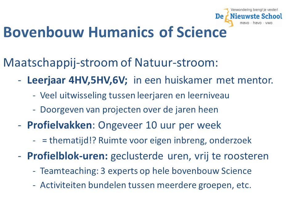 Bovenbouw Humanics of Science Maatschappij-stroom of Natuur-stroom: -Leerjaar 4HV,5HV,6V; in een huiskamer met mentor.