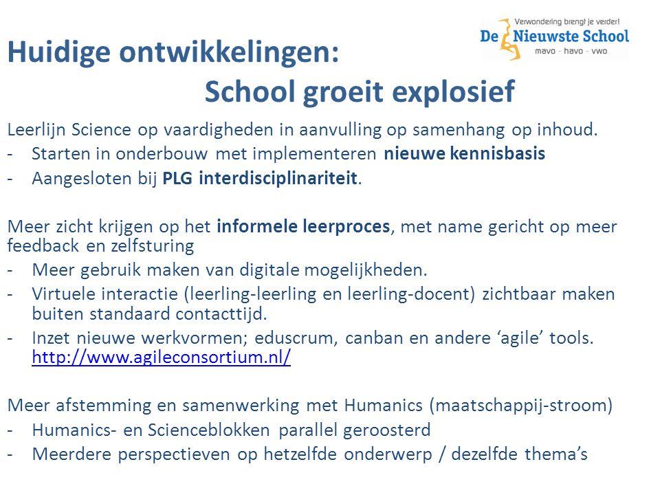 Huidige ontwikkelingen: School groeit explosief Leerlijn Science op vaardigheden in aanvulling op samenhang op inhoud.