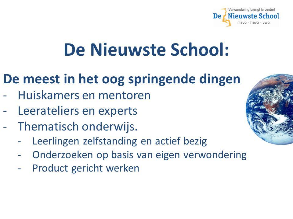 De Nieuwste School: De meest in het oog springende dingen -Huiskamers en mentoren -Leerateliers en experts -Thematisch onderwijs.