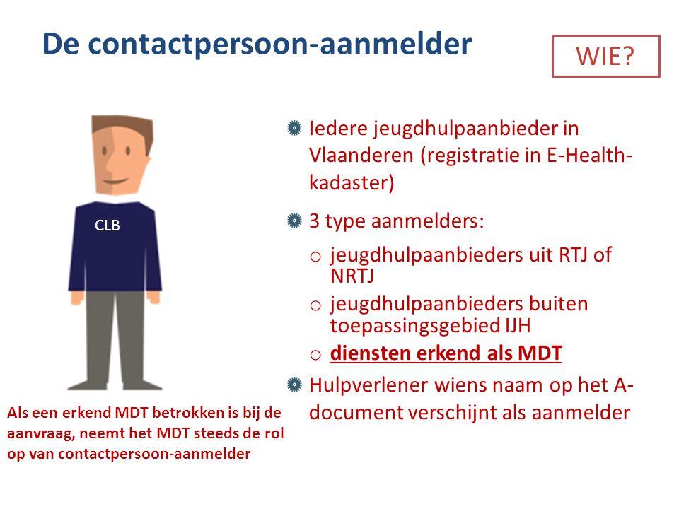 Iedere jeugdhulpaanbieder in Vlaanderen (registratie in E-Health- kadaster) 3 type aanmelders: o jeugdhulpaanbieders uit RTJ of NRTJ o jeugdhulpaanbie