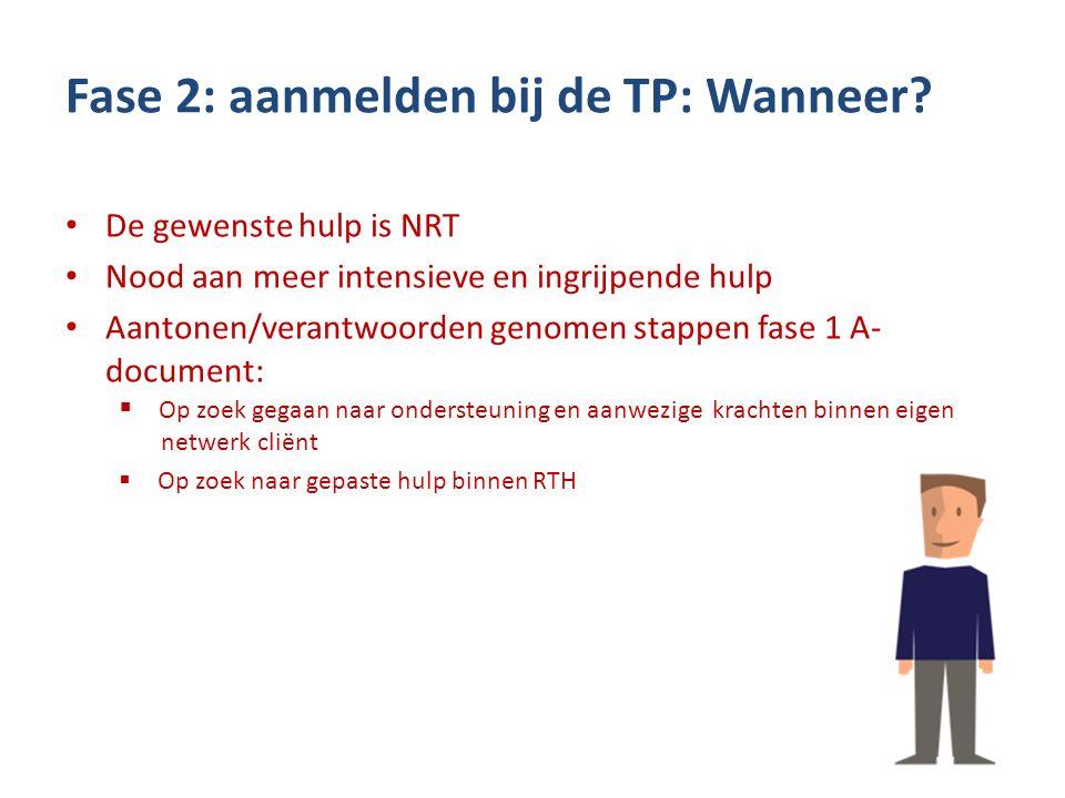 Fase 2: aanmelden bij de TP: Wanneer? De gewenste hulp is NRT Nood aan meer intensieve en ingrijpende hulp Aantonen/verantwoorden genomen stappen fase