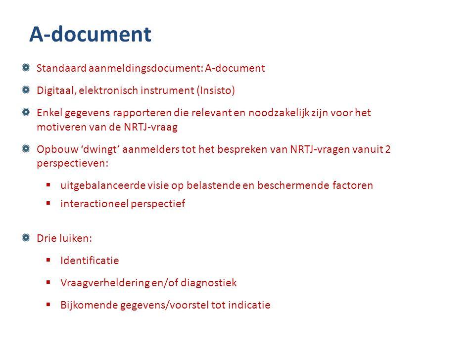 A-document Standaard aanmeldingsdocument: A-document Digitaal, elektronisch instrument (Insisto) Enkel gegevens rapporteren die relevant en noodzakeli