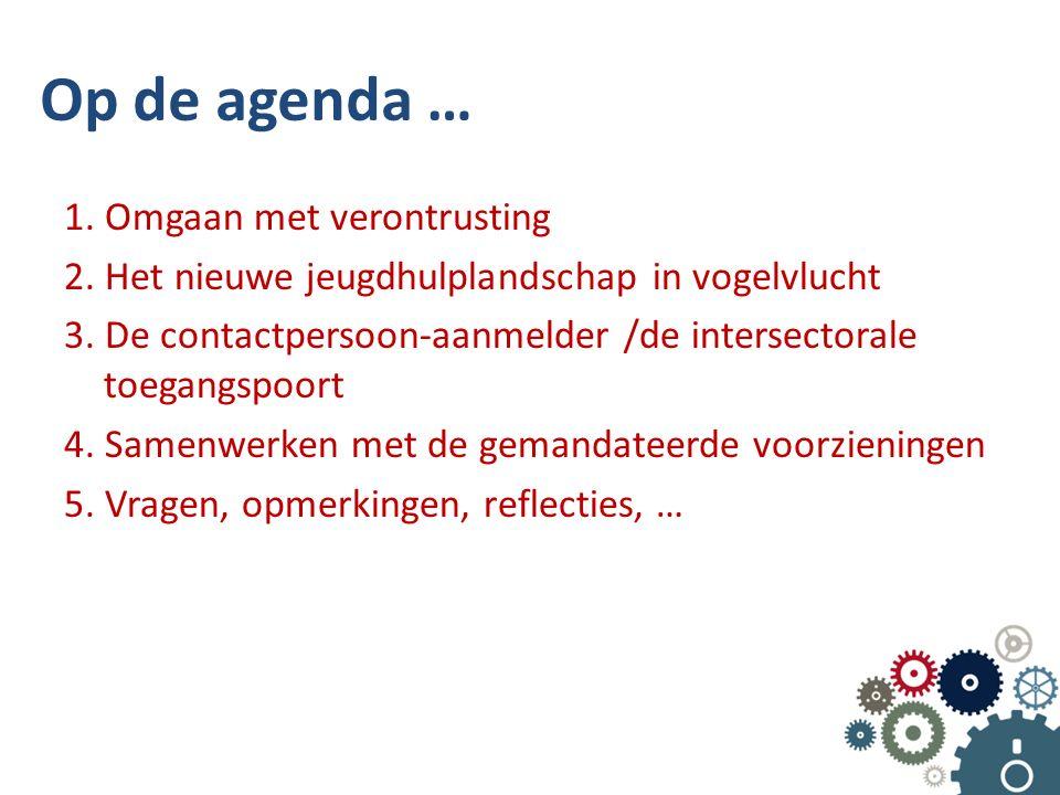 Op de agenda … 1. Omgaan met verontrusting 2. Het nieuwe jeugdhulplandschap in vogelvlucht 3. De contactpersoon-aanmelder /de intersectorale toegangsp