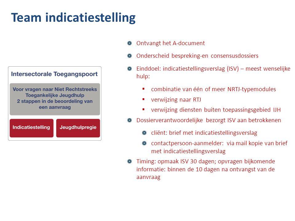 Ontvangt het A-document Onderscheid bespreking-en consensusdossiers Einddoel: indicatiestellingsverslag (ISV) – meest wenselijke hulp:  combinatie va