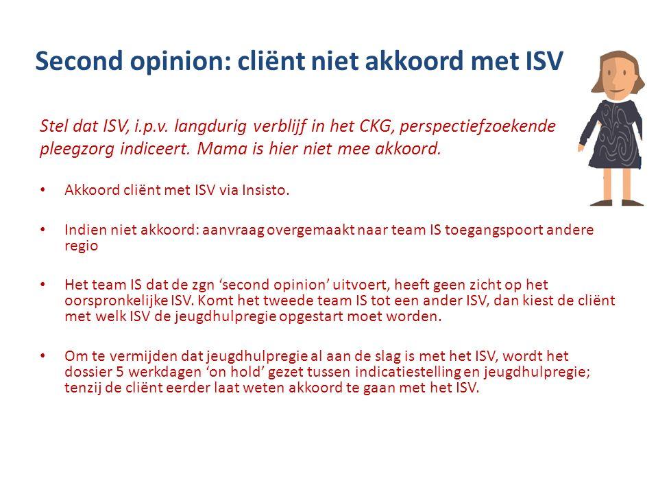 Second opinion: cliënt niet akkoord met ISV Stel dat ISV, i.p.v. langdurig verblijf in het CKG, perspectiefzoekende pleegzorg indiceert. Mama is hier