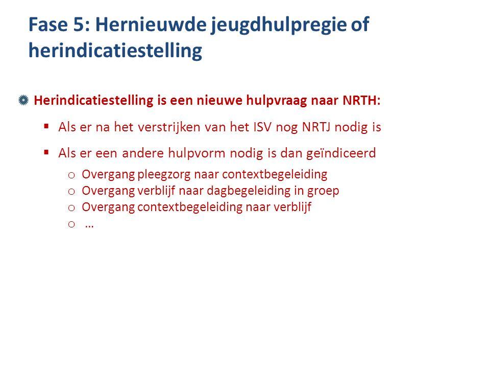 Herindicatiestelling is een nieuwe hulpvraag naar NRTH:  Als er na het verstrijken van het ISV nog NRTJ nodig is  Als er een andere hulpvorm nodig i