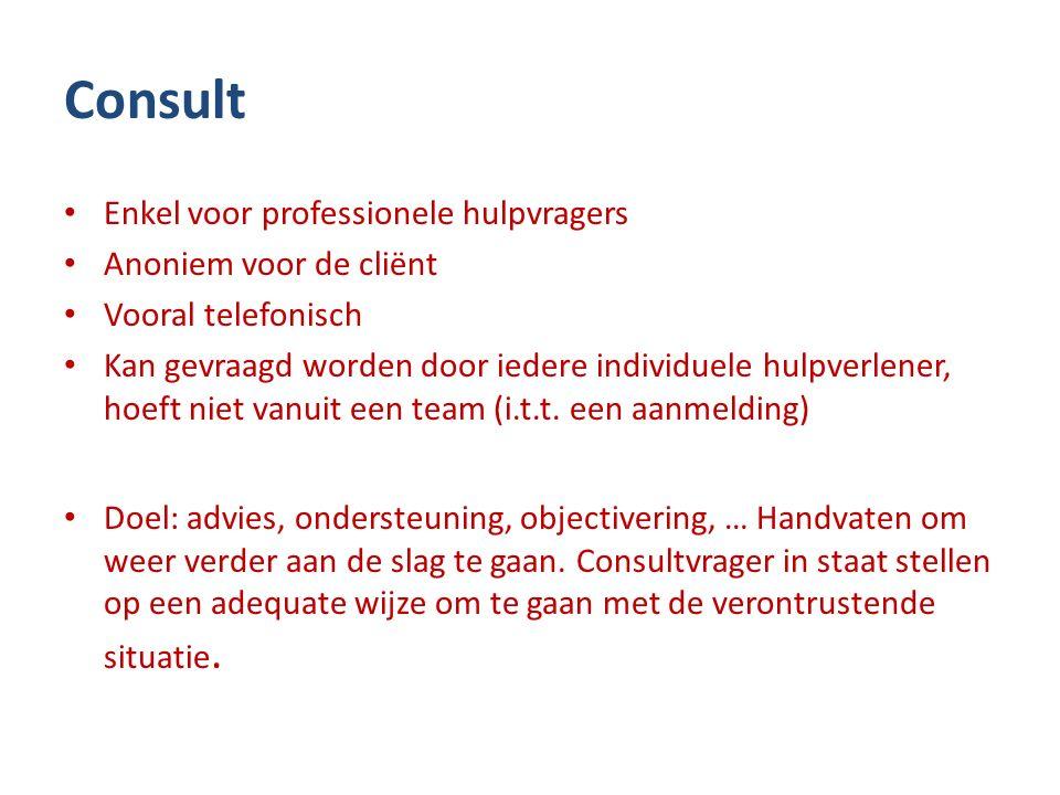 Consult Enkel voor professionele hulpvragers Anoniem voor de cliënt Vooral telefonisch Kan gevraagd worden door iedere individuele hulpverlener, hoeft