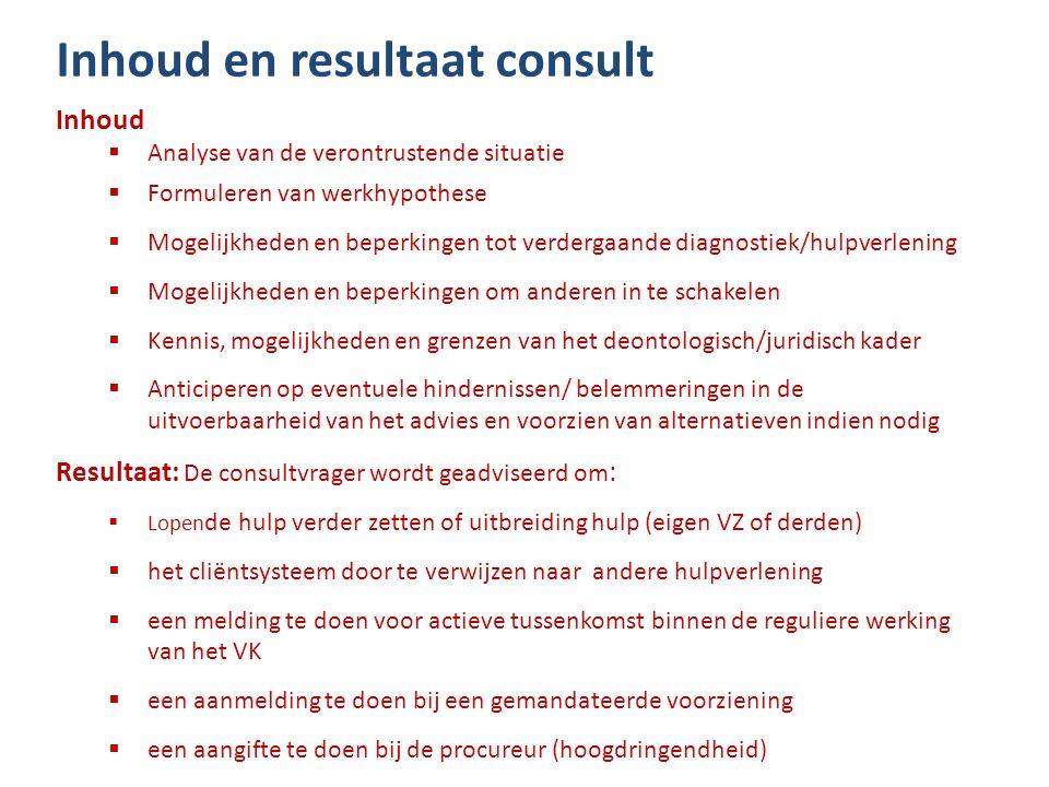 Inhoud en resultaat consult Inhoud  Analyse van de verontrustende situatie  Formuleren van werkhypothese  Mogelijkheden en beperkingen tot verderga