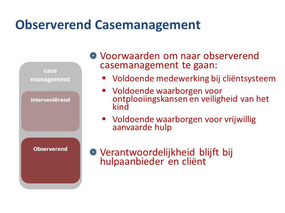 Observerend Casemanagement Voorwaarden om naar observerend casemanagement te gaan:  Voldoende medewerking bij cliëntsysteem  Voldoende waarborgen vo