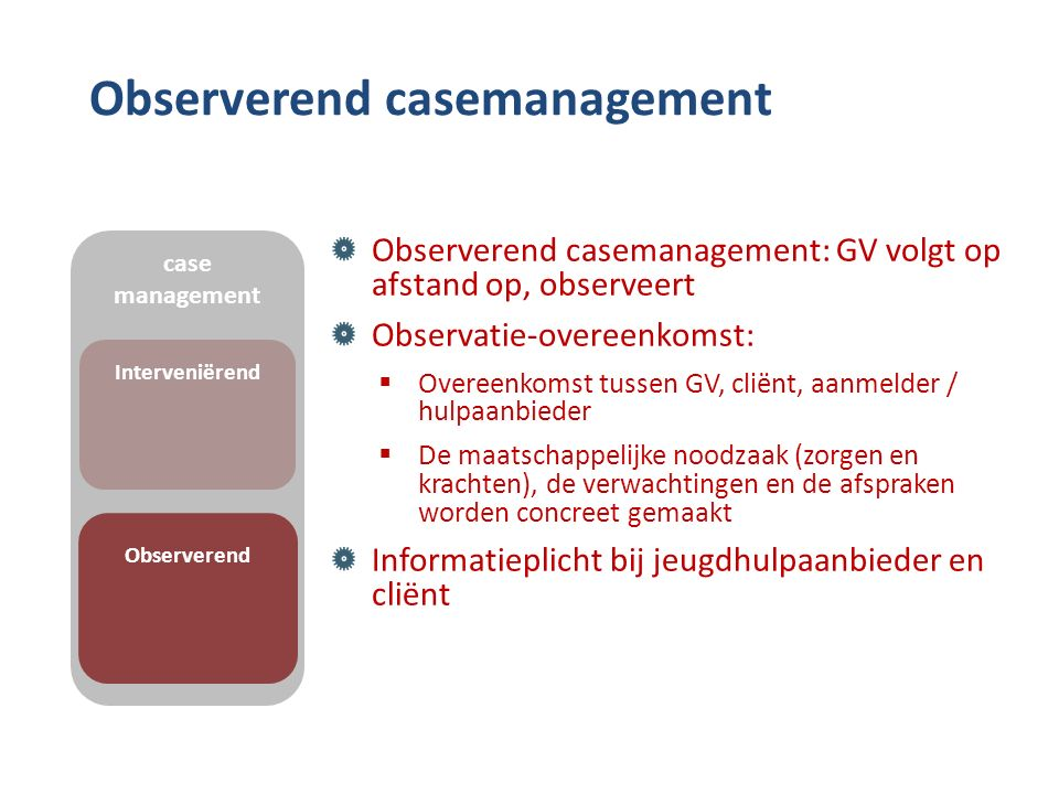 Observerend casemanagement Observerend casemanagement: GV volgt op afstand op, observeert Observatie-overeenkomst:  Overeenkomst tussen GV, cliënt, a