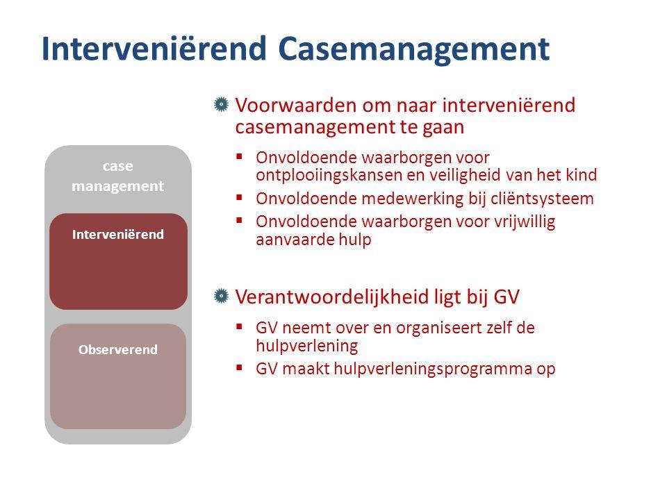 Interveniërend Casemanagement Voorwaarden om naar interveniërend casemanagement te gaan  Onvoldoende waarborgen voor ontplooiingskansen en veiligheid
